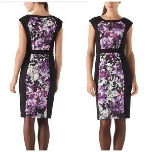 White House black market black floral dress size 0